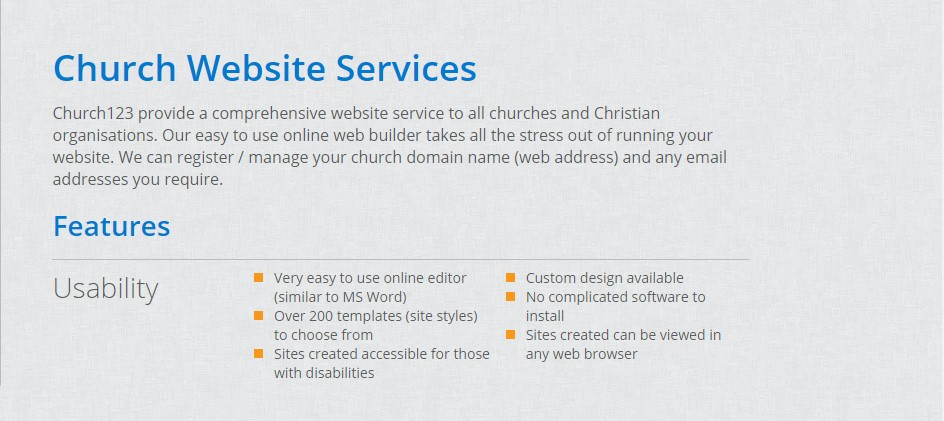 Best Church Website Builder - Church123 Features