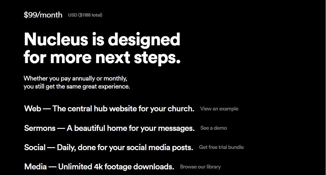 Best Church Website Builder - Nucleus Plans