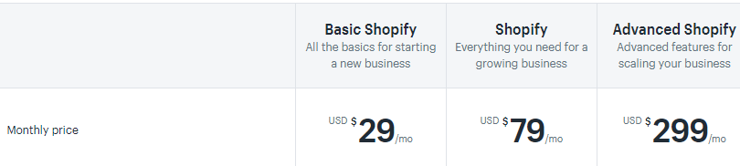 Best Website Builder for Small Business - Shopify Pricing