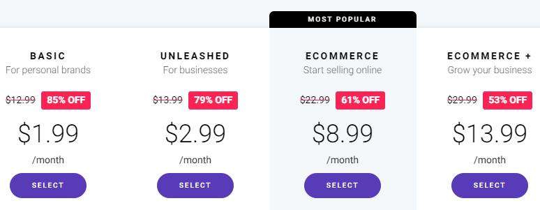 zyro pricing plans