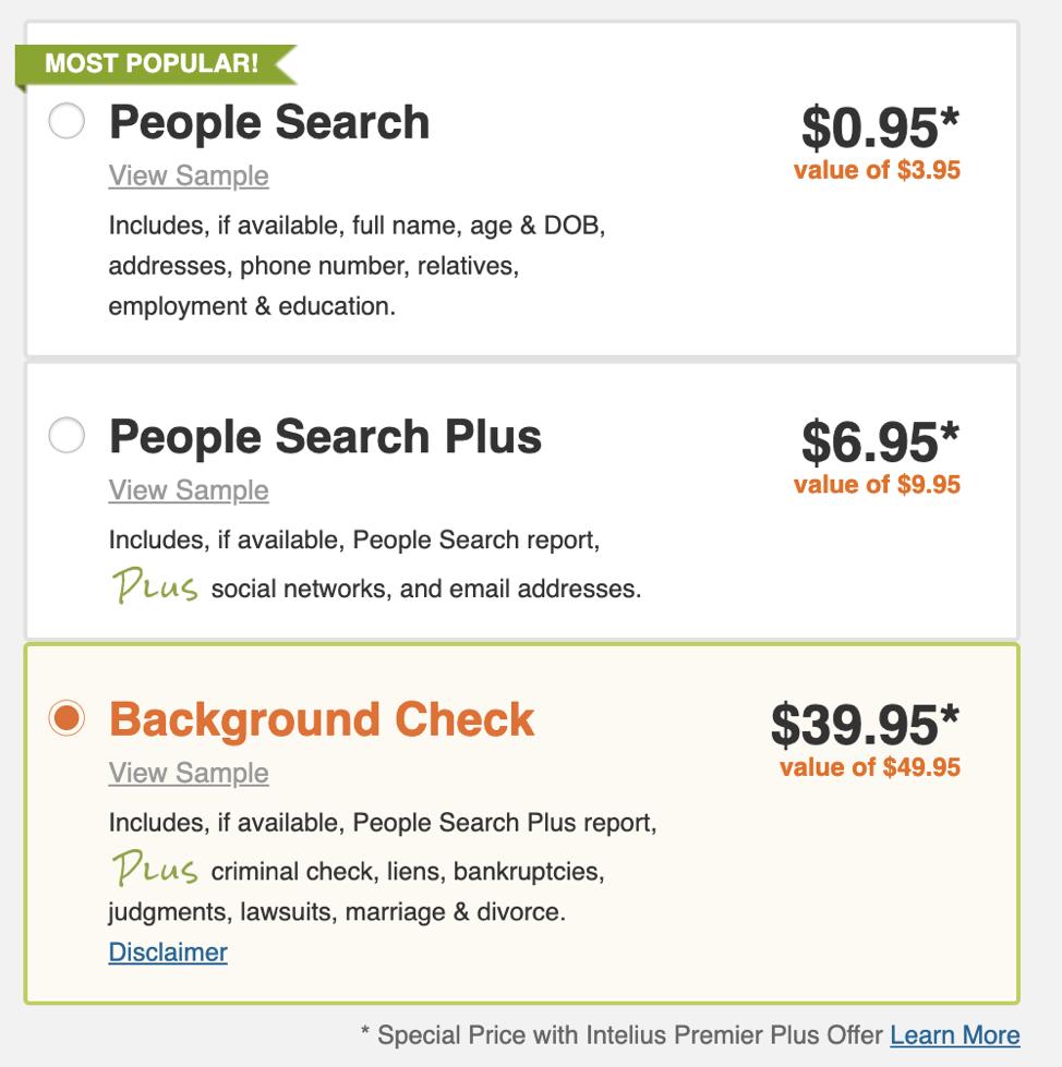 Intelius Pricing